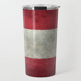 Austrian National flag - Grungy retro version Travel Mug