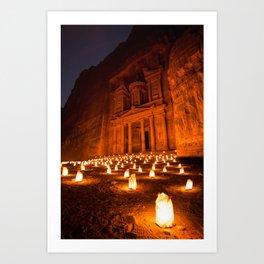 Petra by Night Art Print