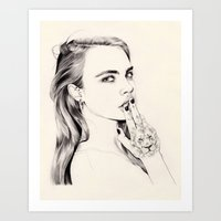 cara Art Prints featuring Cara by John Ryan Solis