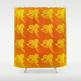 Gotcha - Yellow on Orange Gradient Shower Curtain