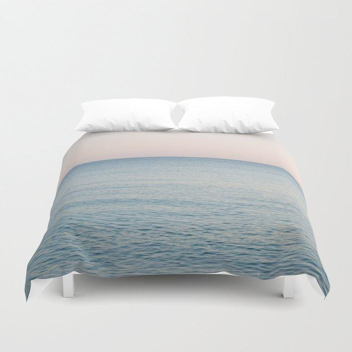PINK SKY, BLUE SEA, EVENING SWIM Duvet Cover