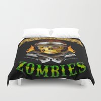 zombies Duvet Covers featuring Badass Zombies by Ferguccio