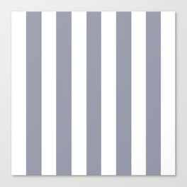 Manatee grey - solid color - white vertical lines pattern Canvas Print