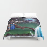 arya Duvet Covers featuring Guardian of The Forest by Sara Poveda