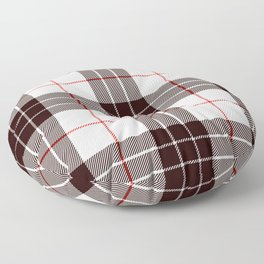 White Tartan with Black and Red Stripes Floor Pillow