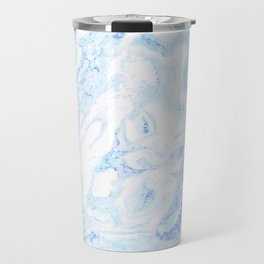 White Marble with Pastel Blue Purple Teal Glitter Travel Mug