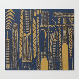 Metropolis [Navy / Yellow] Canvas Print