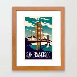 San Francisco Golden Gate Bridge Retro Vintage Framed Art Print
