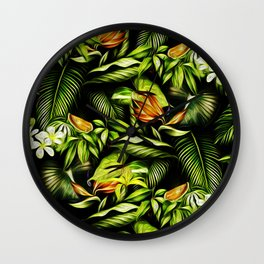 Green Flowers Wall Clock