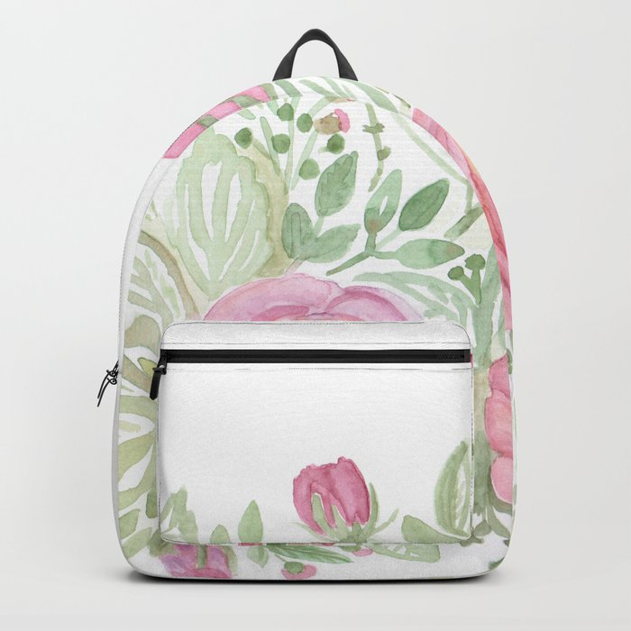 Watercolor . A bouquet of roses . Backpack