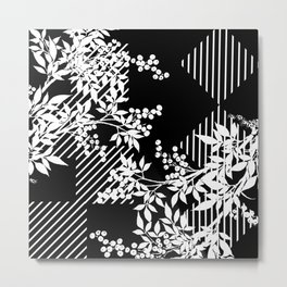 TOILE LEAF AND DIAMOND PATTERN Metal Print