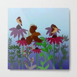 Tiny birds on flowers 2 Metal Print