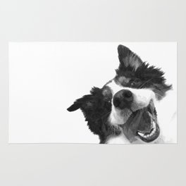 Black and White Happy Dog Rug