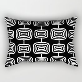 Mid Century Modern Atomic Rings Pattern Black and White Rectangular Pillow