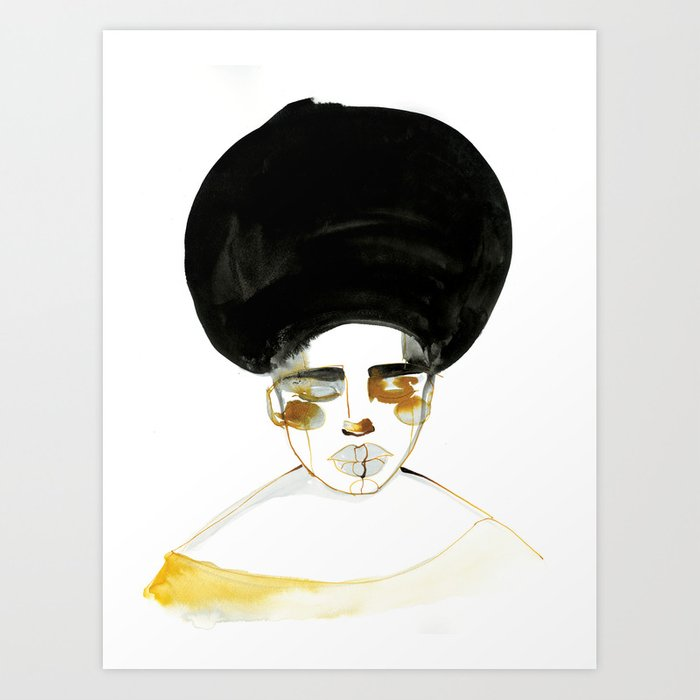 Serenity with Fluffy Afro Art Print