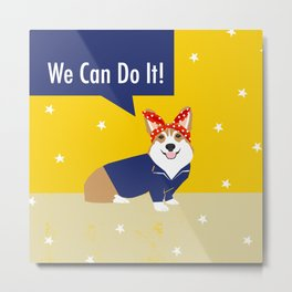 Corgi Rosie - Rosie the riveter, dog, dogs, dog costume, cute dog Metal Print
