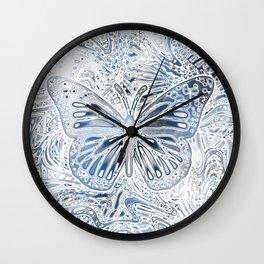 Monarch Butterfly in Pastel Blue Wall Clock
