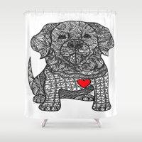 golden retriever Shower Curtains featuring Gentle Giant - Golden Retriever by DiAnne Ferrer