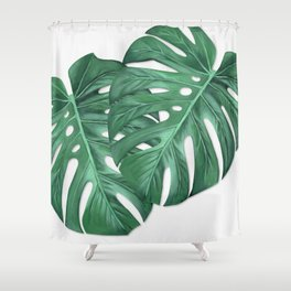 Monstera Tropical Leaf Painting Shower Curtain