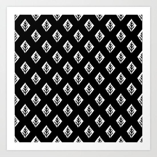 Linocut scandinavian minimal black and white trees camping pattern minimalist art Art Print