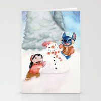 lilo and stitch Stationery Cards featuring Lilo and Stitch by Walko