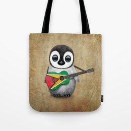 Baby Penguin Playing Guyanese Flag Acoustic Guitar Tote Bag