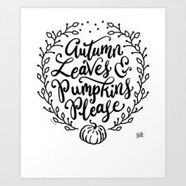 Pretty Fall Pumpkin Spice Wreath Autumn Leaves & Pumpkins Please Art Print