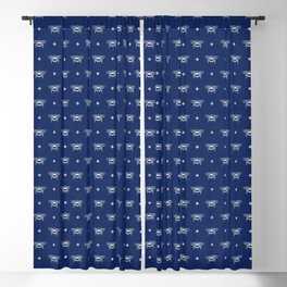 Bee Stamped Motif on Navy Blue Blackout Curtain
