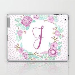 Monogram J - cute girls purple florals flower wreath, lilac florals, baby girl, baby blanket Laptop & iPad Skin