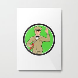 Gas Jockey Attendant Waving Circle Cartoon Metal Print