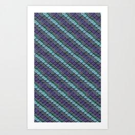 Opalescent Mermaid Scale Stripes Art Print
