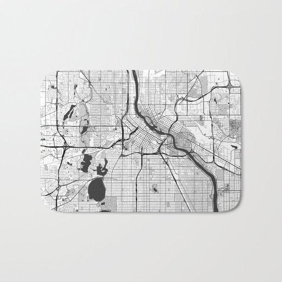 Minneapolis Map Gray Bath Mat