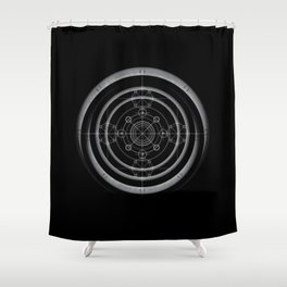 Black occult and sacred geometry design with alchemical symbols Shower Curtain