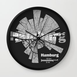 Hamburg Map Wall Clock