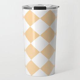 Large Diamonds - White and Sunset Orange Travel Mug