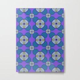 Retro 1970s Blue Purple Floral Mid Century Pattern Metal Print