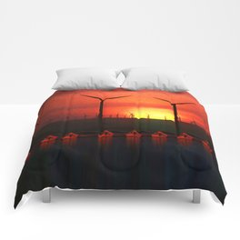 Boats at Sunset (Digital Art) Comforters