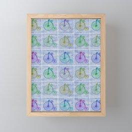 Penny Farthing Vintage Pastel Blue Repeat Pattern Framed Mini Art Print