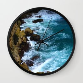 Pounding Ocean Surf on Jagged, Rocky Coastline Wall Clock