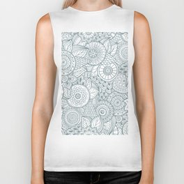 Abstract Floral Pattern Biker Tank