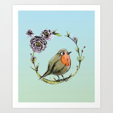 Rouge gorge Art Print