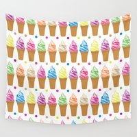 ice cream Wall Tapestries featuring Ice Cream by Ornaart