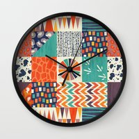alisa burke Wall Clocks featuring OUT OF AFRICA by Daisy Beatrice
