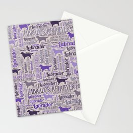 Labrador retriever silhouette and word art pattern Stationery Cards