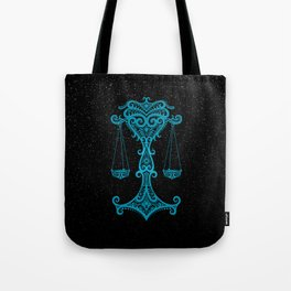 Blue Libra Zodiac Sign in the Stars Tote Bag