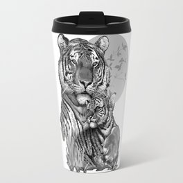 Tiger with Cub (B/W) Travel Mug