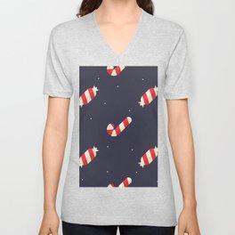Red Christmas Peppermint Pattern Unisex V-Neck