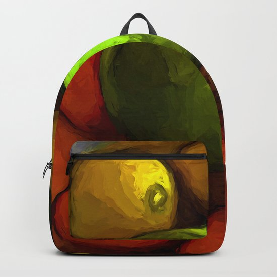 Green Apple with Gold Apples and Orange Mandarins Backpack
