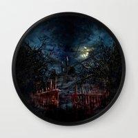castlevania Wall Clocks featuring Castlevania: Vampire Variations- Gates by LightningArts
