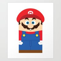 super mario Art Prints featuring Super Mario by Xiao Twins